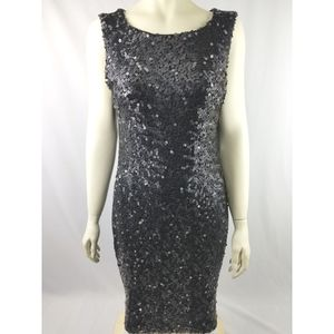 Bisou Bisou Michele Bohbot black sequin sheath dress 14 for Sale in Avondale, AZ