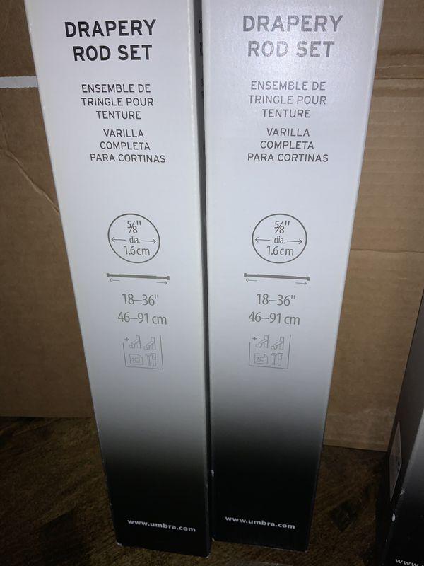 "Umbra Drapery Rod Set/Curtain Rods with decorative finials and bracket hardware - 18""-36"" - New, Unused"