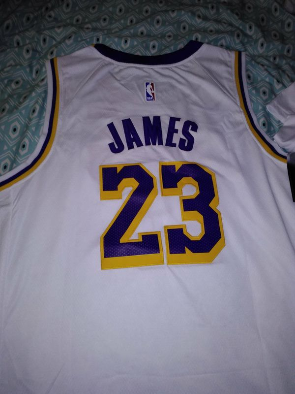 8d9250d8a1e LeBron James Lakers brand new white jersey with tags never worn all logos  stitched