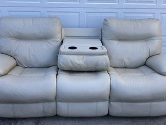 Cream Colored, Electric Reclining, Sofa With Fold Down Center Console for Sale in El Cajon,  CA