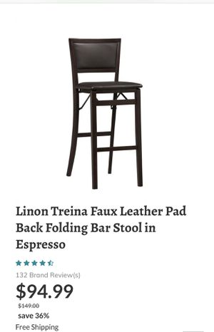 Linon Treina Faux Leather Pad Back Folding Bar Stool In Espresso for Sale in Los Angeles, CA