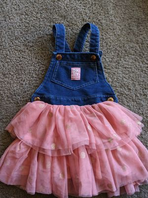 DKNY Denim & Blush Pink Tulle Overall Dress | Little Toddler Girls 4T for Sale in Mesa, AZ