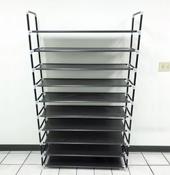 $20 New In Box Large 10-Tier Shoe Rack Organizer Non-Woven Fabric Metal Tube Shelf 39x11x70 Inches for Sale in Santa Fe Springs,  CA