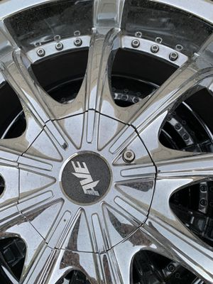 """20"""" wheels with tires. 245/35/20. Multi lug pattern for 5 bolts. Will fit Mazda, Nissan, Ford & Toyota. Directional tires. Cash & local pickup only, for Sale in Las Vegas, NV"""