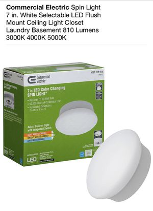 Commercial Electric Spin Light 7 in. White Selectable LED Flush Mount Ceiling Light Closet Laundry Basement 810 Lumens 3000K 4000K 5000K for Sale in South El Monte, CA