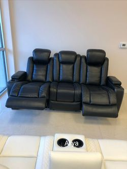 ♻️Brand New Party Time Midnight LED Power Reclining Sofa with Adjustable Headrest byAshley In STOCK b2 for Sale in Westminster,  MD