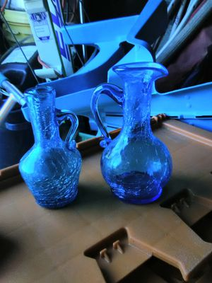 Two Antique Blue crackle glass bottles for Sale in Albuquerque, NM