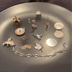 "14 Sterling Silver Charms And 6"" Chain:NOTE; Had These Charms Examined At Longs Jewlers On 3/2/21 ; See Description On Removal & Addition Of Charms for Sale in Billerica,  MA"