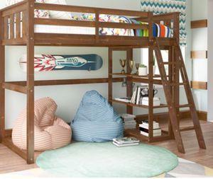 New!! Bed, twin bed, loft twin bed, solid wood storage w 3 bookcase shelves loft twin bed, bedroom furniture, mocha for Sale in Phoenix, AZ