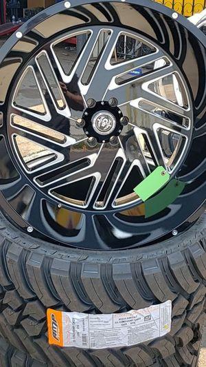 26x14 black hardcore rims 6 lug 6x139 6x5.5 on new mud tires 35 1350 26 for Sale in Phoenix, AZ