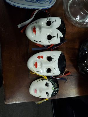 Set of 3 ceramic masks for Sale in Erie, PA