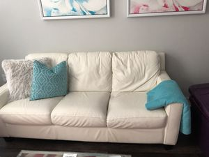 Off White Leather Couch! for Sale in Atlanta, GA