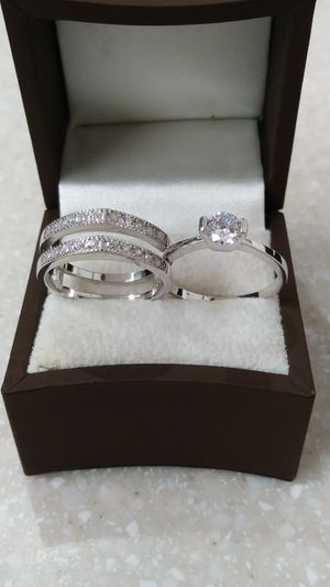 New with tag Solid 925 Sterling Silver ENGAGEMENT WEDDING Ring Set size 7 or 8 $150 set OR BEST OFFER **FOR CHRISTMAS WE SHIP!!📦📫** for Sale in Phoenix, AZ