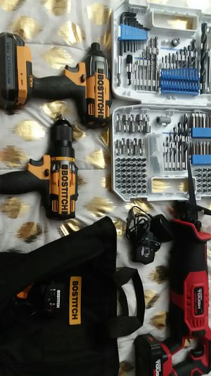 NEW Bostitch Impact hammer drill and drill kit 2 18v Batts Charger carry bag, Hart drill bit kit and a Hyper Tough Saw Saw with 20v batt and Charger for Sale in Sanford, NC