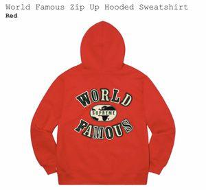 Supreme World Famous Zip Up Hooded Sweatshirt for Sale in Manassas Park, VA