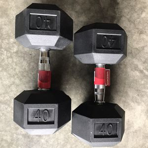 New Pair Rubber Hex 40lb Dumbbells for Sale in Renton, WA