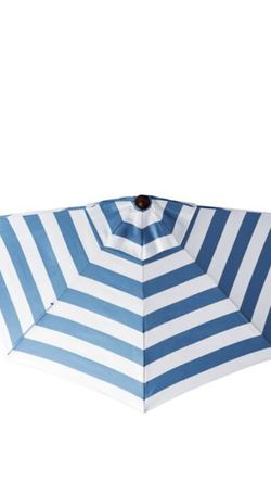 Frontgate 9' Outdoor Market Half-Umbrella Sunbrella Resort Air Blue Stripe With Half-Umbrella Stand for Sale in Clarksburg,  MD