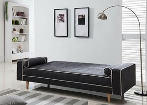 GRAY Tufted Linen Fabric Futon Sofa Bed with White Lining and Pillows for Sale in Highland, CA
