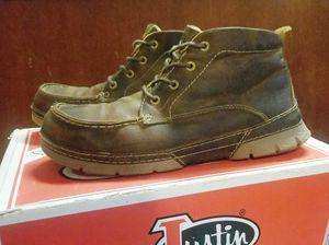 Justin Tobar Brown 4 Eye Steel Toe Men's Workboots 11D for Sale in Highlands, TX