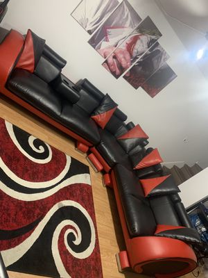 Red and black leather sectional couches for Sale in Jersey City, NJ