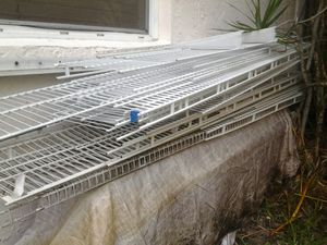 26 peice metal wire shelf shelves sold as a lot only 12inch wide 3ft to 10ft for Sale in Pompano Beach, FL