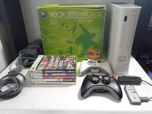 Xbox 360 Arcade Bundle 2 Controllers, 5 Games w/ Box for Sale in North Miami Beach, FL
