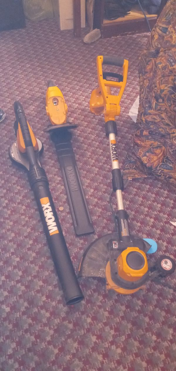 Worx three peice battery power lawn equipment