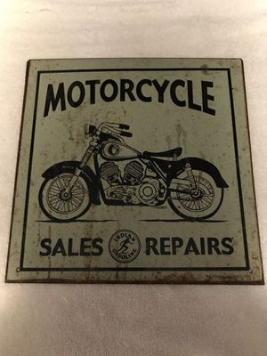 Indian motorcycle sales and repair metal sign for Sale in Livermore, CA