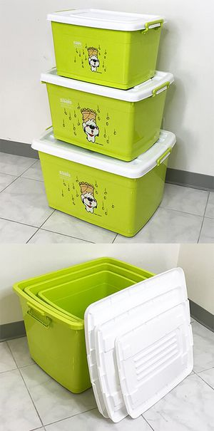 New in box $20 (Pack of 3) Large Plastic Storage Container with Wheels, Sizes: 38gal, 25gal, 16gal for Sale in South El Monte, CA