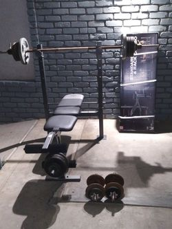 Bench, Straight Bar, 2 Dumbells, 6 Collars And 230lbs Of Weight for Sale in Fresno,  CA