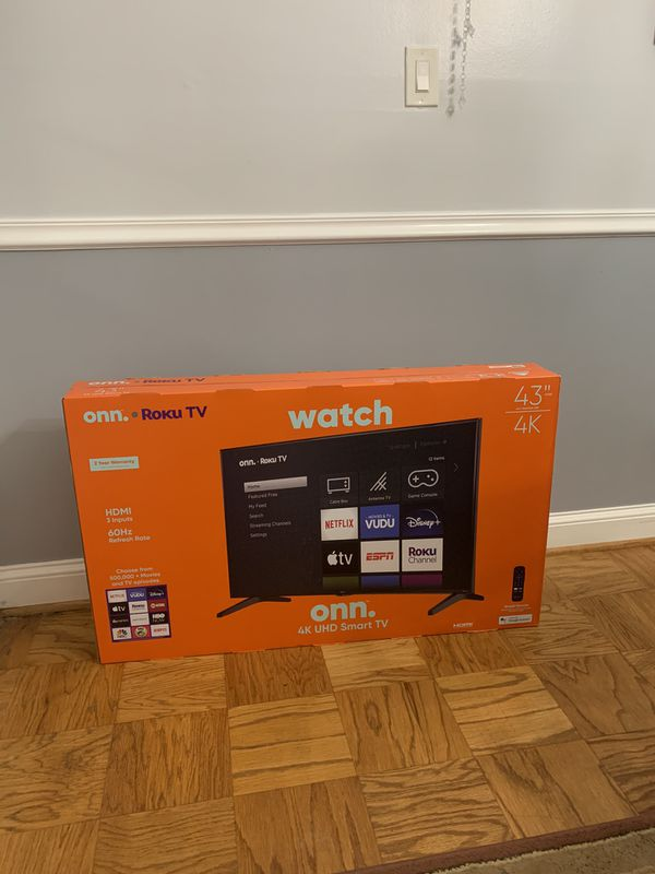 Onn 43 inch 4K UHD (2160P) LED Roku Smart TV HDR