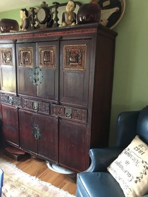 1800's Antique Chinese tea cabinet 60 inches wide 72 inches high and 23 inches in depth for Sale in Gibsonia, PA