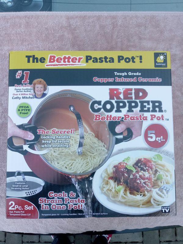NEW Red Copper Better Pasta Pot 2 pc set