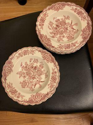 6 Vintage Crown Ducal BRISTOL PINK Rimmed Soup Bowls for Sale in North Riverside, IL