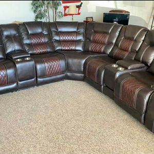 2-Tone Brown Reclining Leather Sectional for Sale in Atlanta, GA