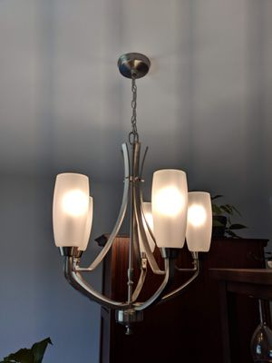 Brushed nickel chandelier lighting fixture, 5 LED bulbs included for Sale in Alexandria, VA