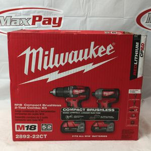 Milwaukee M18 Brushless 2 Tool Combo Kit (drill/Driver - Impact Driver) 2892-22CT (MXP012937) for Sale in Lakeland, FL