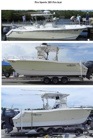 2005 Pro Sports 285 Pro Kat Open Fishermen Boat (Magic Tilt 3-axle aluminum submersible Trailer sold separately) for Sale in Fort Lauderdale, FL