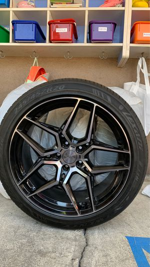 4 new tires and new rims included (Black and Chrome) for Sale in La Puente, CA