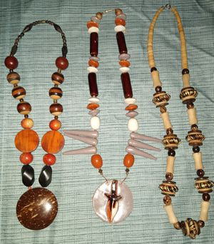 Exotic wood stone statement necklaces for Sale in Placentia, CA