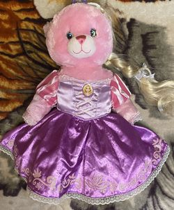 "Build-A-Bear Pink Disney Princess Stuffed Teddy Bear with Purple Tiara Crown 18"" for Sale in Oxnard,  CA"