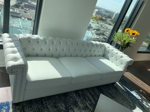 Parkhurst Tufted Chesterfield Faux Leather Sofa in Perfect Condition for Sale in McLean, VA