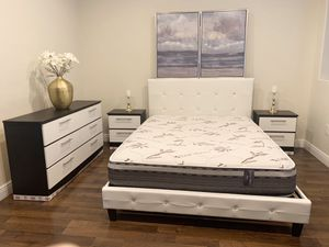 New set queen bed frame dresser and nightstands mattress is not included for Sale in Pompano Beach, FL