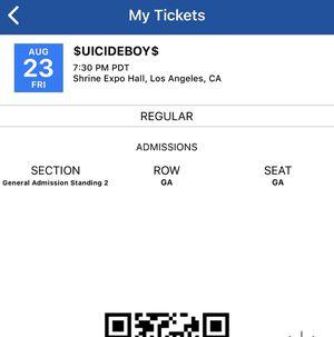 Suicideboys ticket for Sale in Fontana, CA