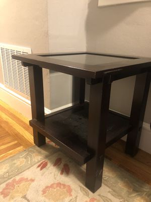 Wood side table with glass top for Sale in San Francisco, CA
