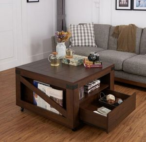 Modern Square Coffee Table in Walnut Finish for Sale in Ontario, CA