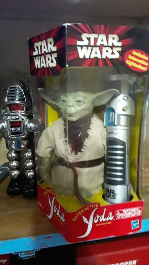 Yoda robot talks when light saber is used for Sale in Wichita Falls, TX