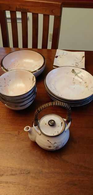 14 piece never used Asian Dish set with Tea Bowl/kettle for Sale in Attleboro, MA