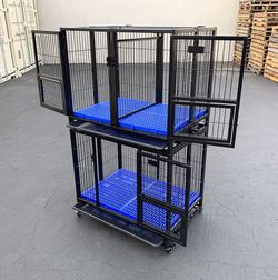 "New $270 (Set of 2) Stackable Dog Cage 37x25x64"" Heavy Duty Folding Kennel w/ Plastic Tray for Sale in Whittier,  CA"