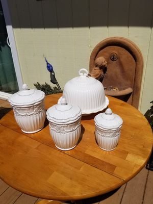 Porcelain kitchen canisters with a cake stand for Sale in Pacifica, CA